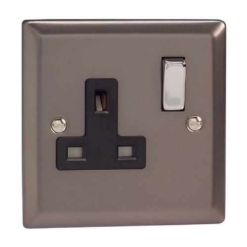 Varilight XR4DB Classic Pewter 1 Gang 13A DP Single Switched Plug Socket